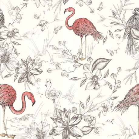 Papier peint flamants roses corails collection r tro vintage lut ce - Papier peint flamant rose ...