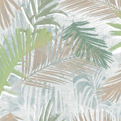 Papier peint JUNGLE GLAM palmiers blanc, or et vert - Graham & Brown