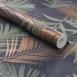 Papier peint JUNGLE GLAM palmiers bleu et vert - Graham & Brown