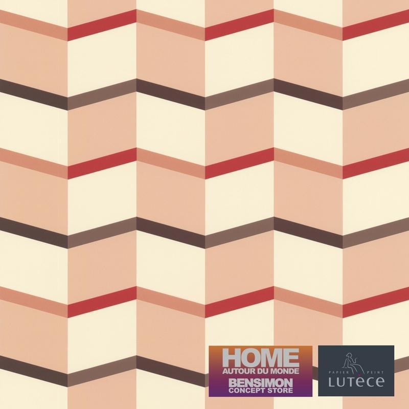 Papier peint Graphique Escalier rose - BENSIMON - Lutèce - 51172703