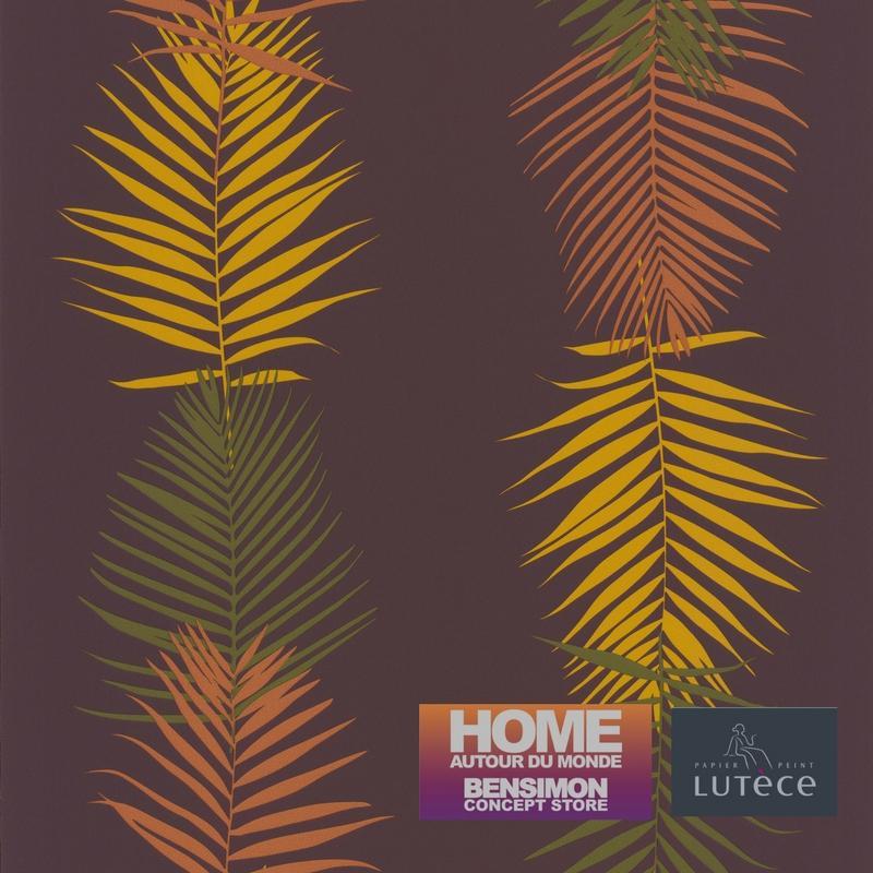 Papier peint Feuille Palme prune - BENSIMON - Lutèce - 51173113