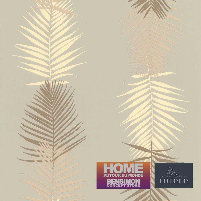 papier peint feuille palme gris taupe collection bensimon lut ce. Black Bedroom Furniture Sets. Home Design Ideas