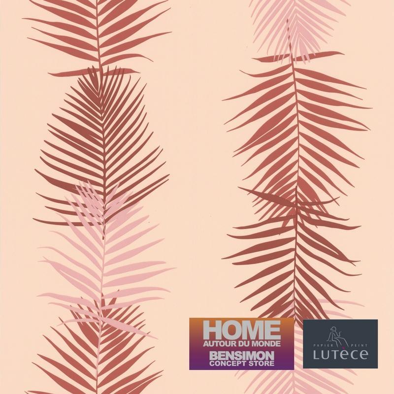 Papier Peint Feuille Palme Rose Collection Bensimon Lutece