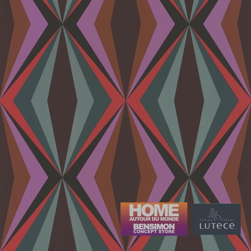 Papier peint Losange violet et vert - BENSIMON - Lutèce - 51173013