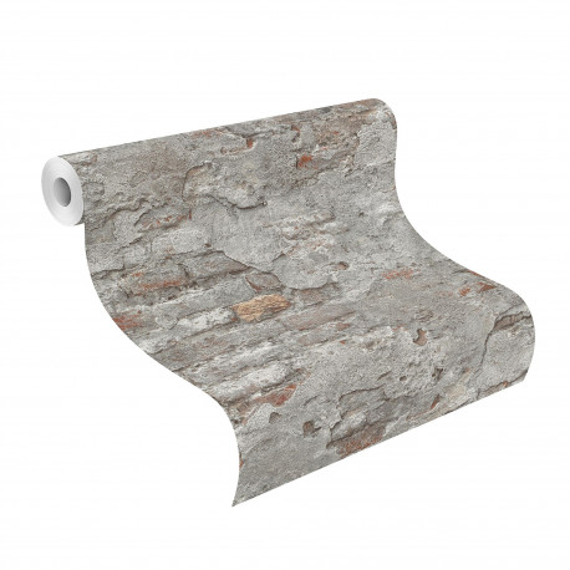 Papier peint Mur de Briques gris - FACTORY III - Rasch - 939330
