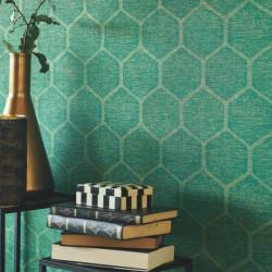 Papier peint MARYLEBONE vert - Chelsea - Casadeco