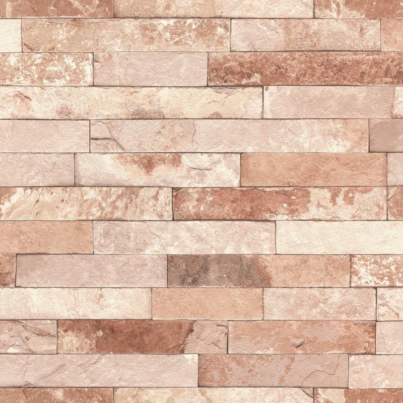 Papier peint Briques marron  - FACTORY III - Rasch - 475166