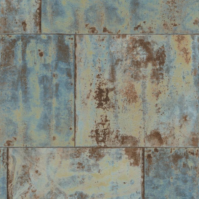 Papier peint métal bleu, collection Factory III   Rasch