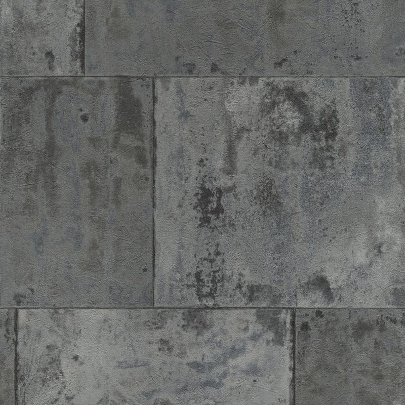 Papier peint métal gris anthracite, collection Factory III   Rasch