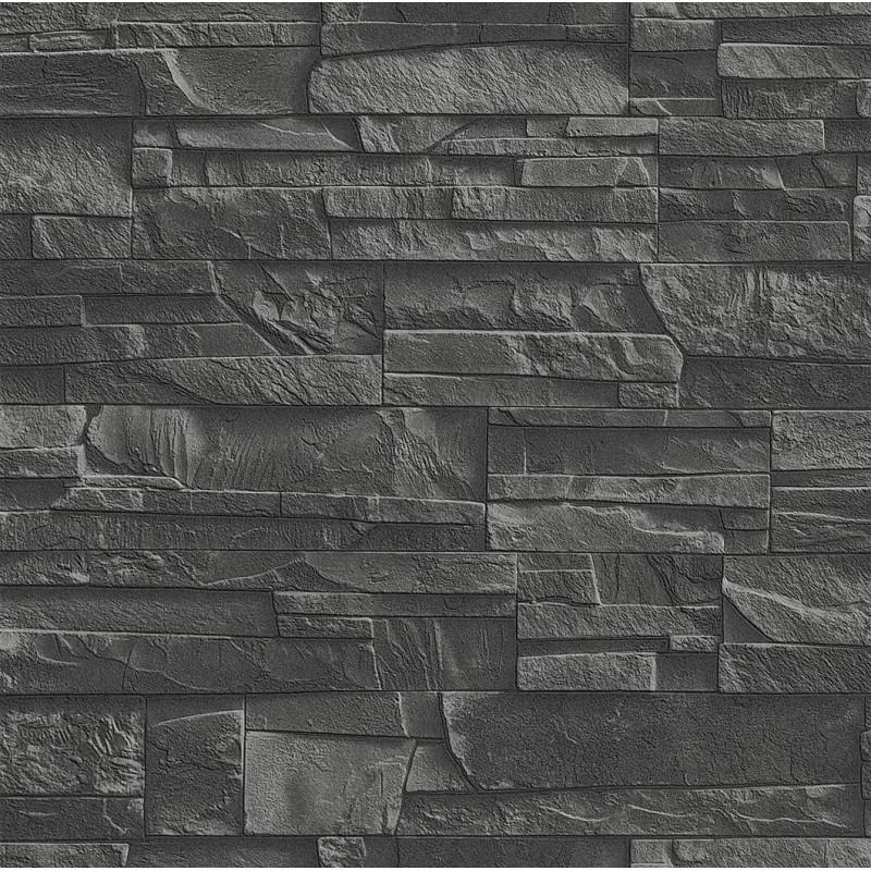 Papier peint Mur de pierre gris anthracite - FACTORY III - Rasch - 475036