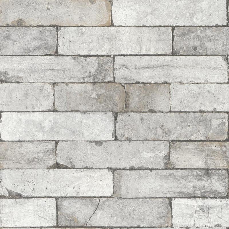 Papier peint Briques gris - FACTORY III - Rasch - 446302