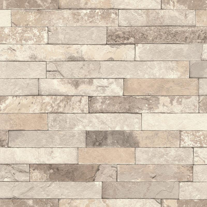 Papier peint Briques taupe  - FACTORY III - Rasch - 475159