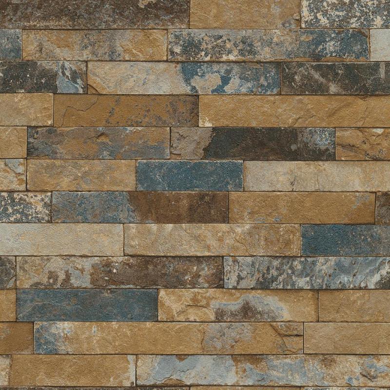 Papier peint Briques bleu - FACTORY III - Rasch - 475104