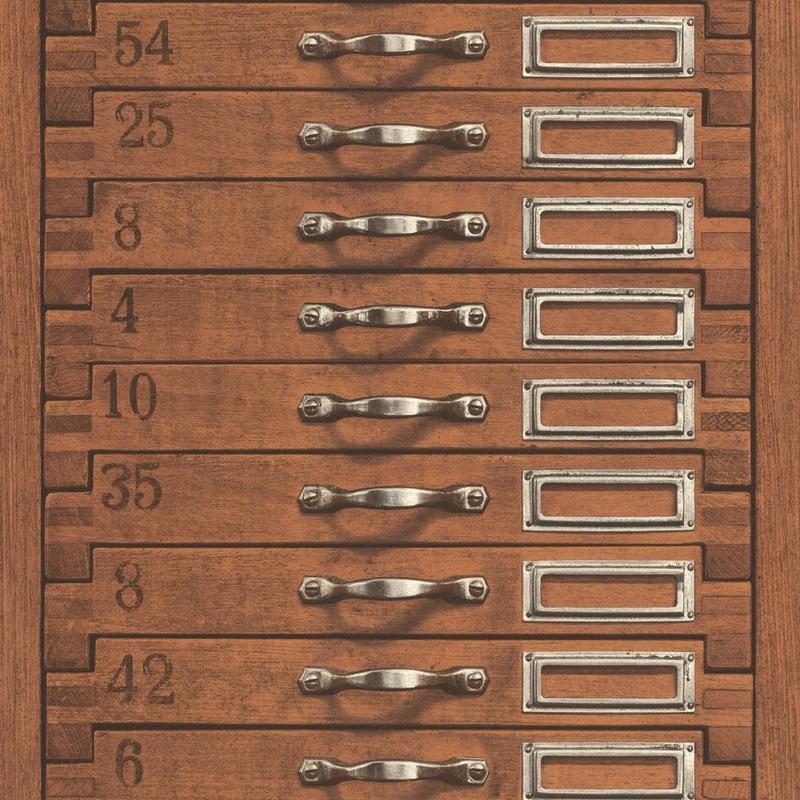 Papier peint Tiroir marron - FACTORY III - Rasch - 938111