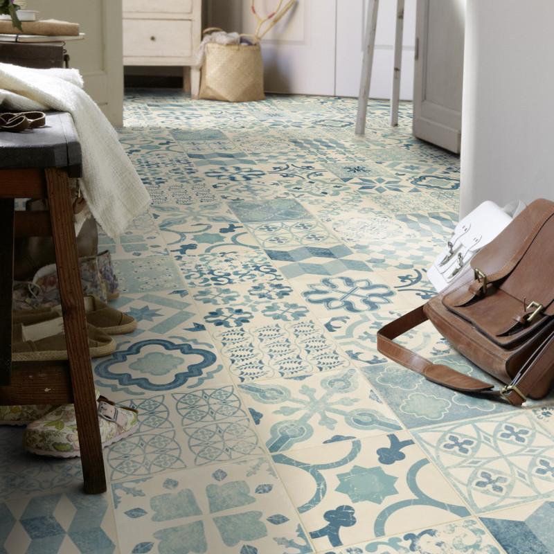Sol PVC - Almeria Blue carrelage retro bleu - Iconik Resist TARKETT - rouleau 4M
