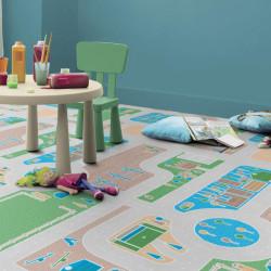 Sol PVC - Pacoland Forestcity circuit enfant pastel - Iconik Confort TARKETT - rouleau 2M