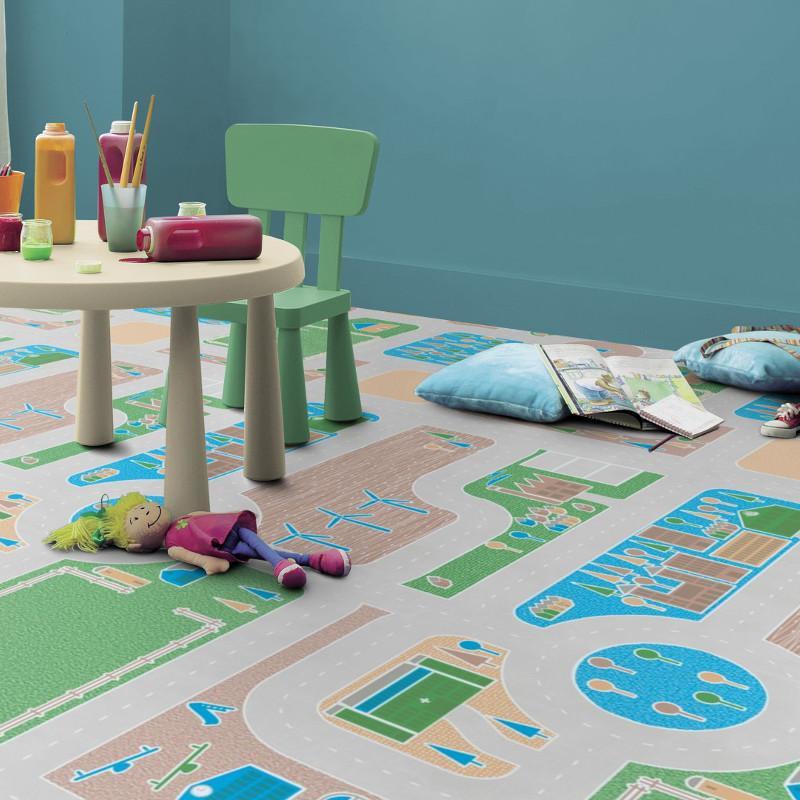 Revêtement PVC - Largeur 2m - Exclusive 300 Play - Circuit enfant Pacoland Forestcity - Tarkett