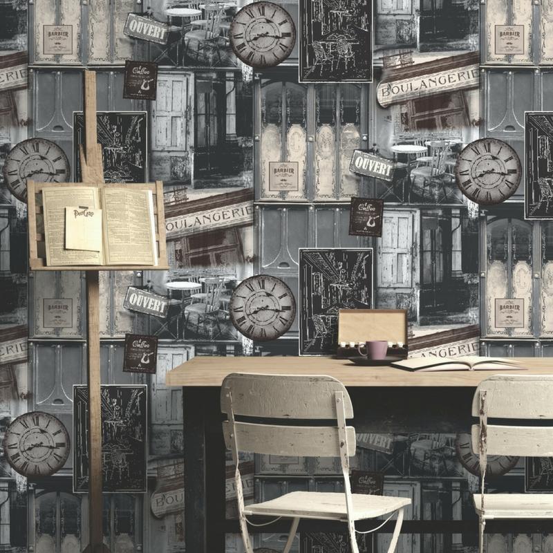 Papier peint Boutique vintage gris - VOYAGES - Ugepa - VOY19056 / L134-09