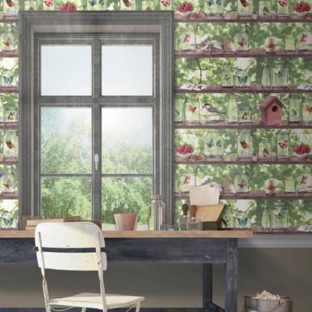 Papier peint expansé sur intissé jardin trompe l'oeil étagère coloré - VOYAGE - UGEPA