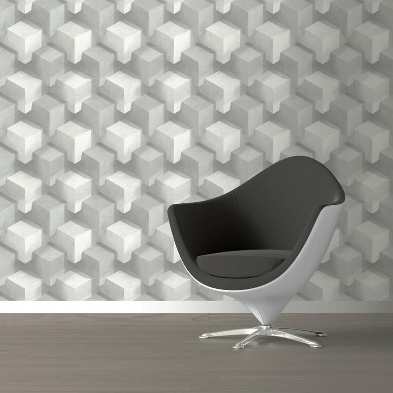 Papier Peint Illusion D Optique Cubes Gris Et Blanc Graphique Ugepa