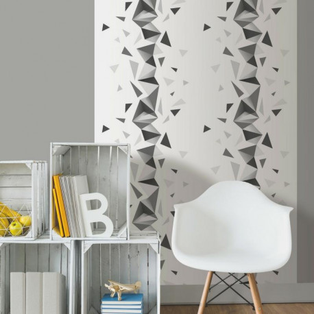papier peint triangles noir gris et blanc graphique ugepa. Black Bedroom Furniture Sets. Home Design Ideas