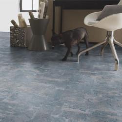 Revêtement PVC carreaux de ciment - Largeur 3m - Rug Denim bleu - TARKETT