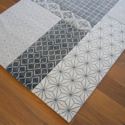 Tapis motif patchwork vintage gris - 160x230cm - Shift - BALTA
