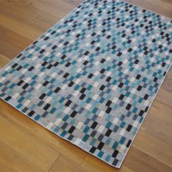 Tapis corde et poil ras Rectangles bleus et gris - 160x230cm - FLOW