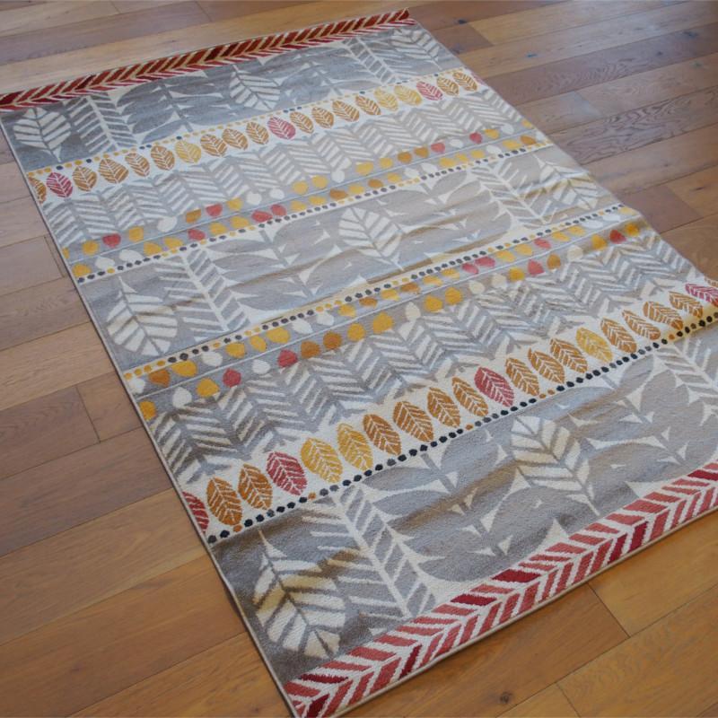 tapis poil ras motifs feuilles jaune orange gris 160x230cm cameleon. Black Bedroom Furniture Sets. Home Design Ideas