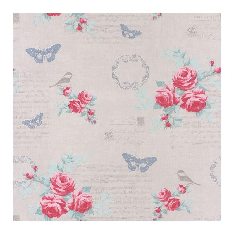 papier peint fleur romantique rose et gris ashley caselio. Black Bedroom Furniture Sets. Home Design Ideas
