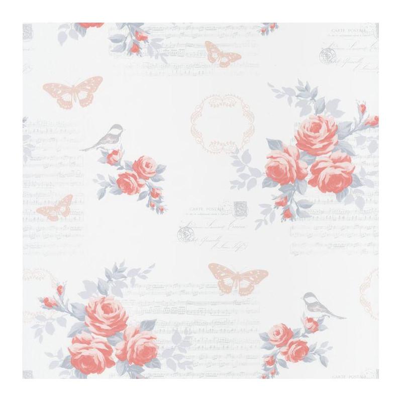 Papier peint Fleur Romantique rose et blanc - ASHLEY - Caselio - ASHL69334090