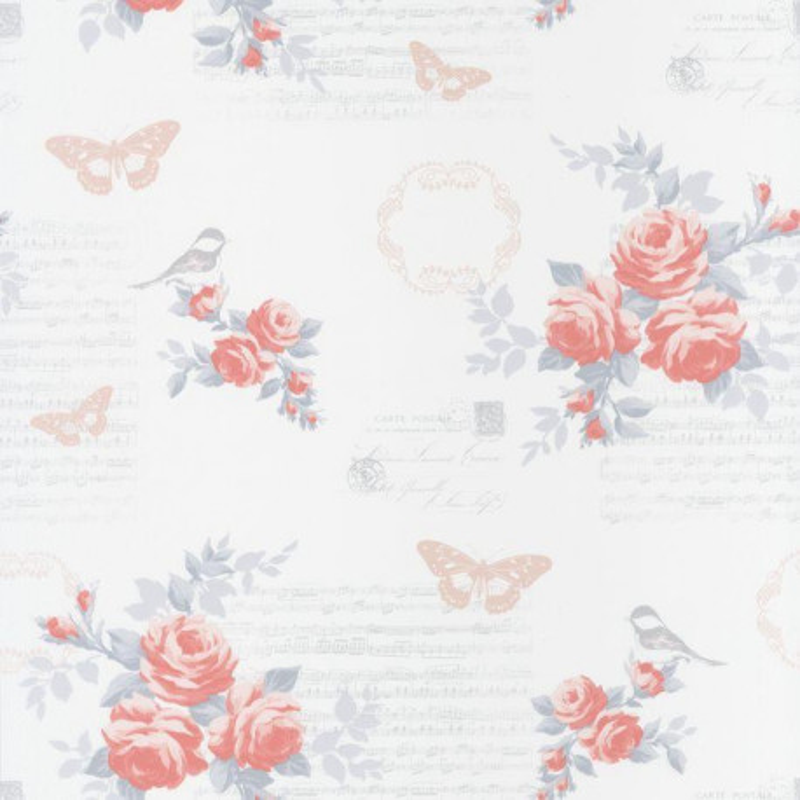 Papier peint fleur romantique rose et blanc ashley caselio for Papier peint romantique