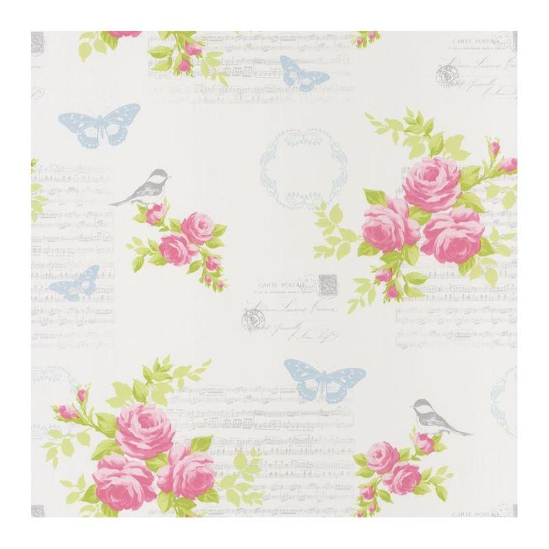 Papier Peint Fleur Romantique Rose Et Blanc Ashley Caselio