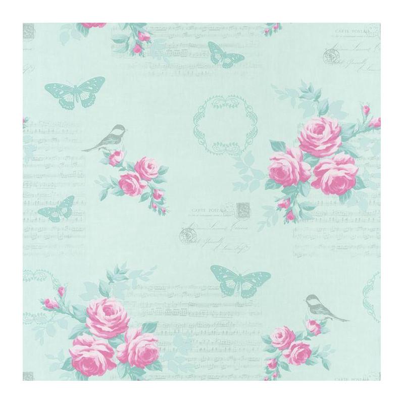 Papier Peint Fleur Romantique Bleu Et Rose Ashley Caselio
