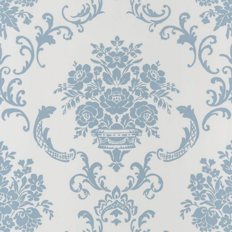 Papier Peint Ornement Floral Bleu Sur Fond Blanc Ashley Caselio