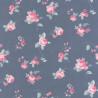 Papier peint Fleur Placée rose sur fond bleu - ASHLEY - Caselio