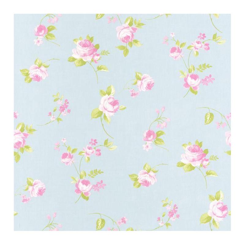 papier peint fleur plac e rose sur fond bleu ciel ashley caselio. Black Bedroom Furniture Sets. Home Design Ideas
