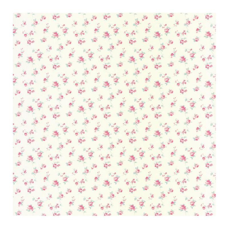 Papier peint Fleurs Liberty rose sur fond blanc - ASHLEY - Caselio