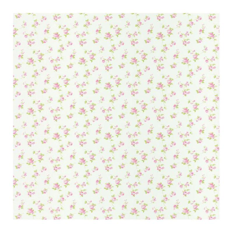 Papier peint Fleurs Liberty rose feuilles vert sur fond blanc ...