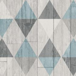 Papier peint intissé Triangles bleu imitation bois - COLLAGE Erismann