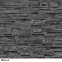 Papier peint intissé trompe l'oeil Briques anthracites - PS International