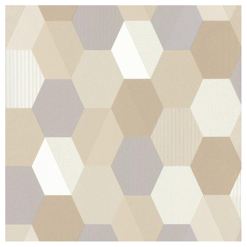 Papier peint Hexagon beige - SPACES - Caselio - SPA100101019