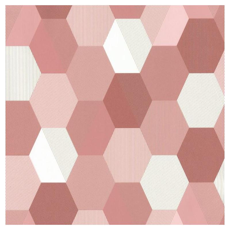 Papier peint Hexagon rose - SPACES - Caselio - SPA100104144