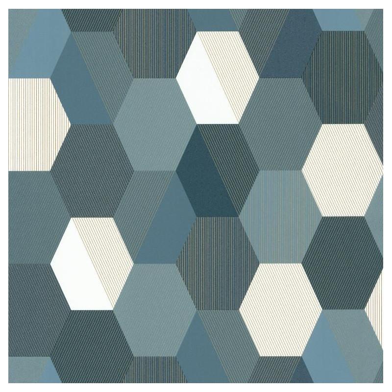 papier peint hexagon motifs g om triques bleu fonc spaces caselio. Black Bedroom Furniture Sets. Home Design Ideas