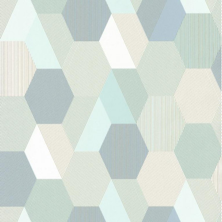 Papier peint Hexagon bleu vert - SPACES - Caselio - SPA100107077