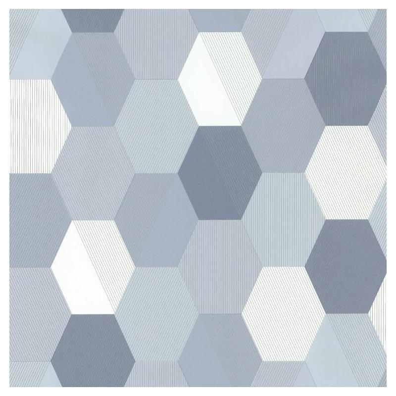 Papier peint Hexagon bleu gris - SPACES - Caselio - SPA100109909