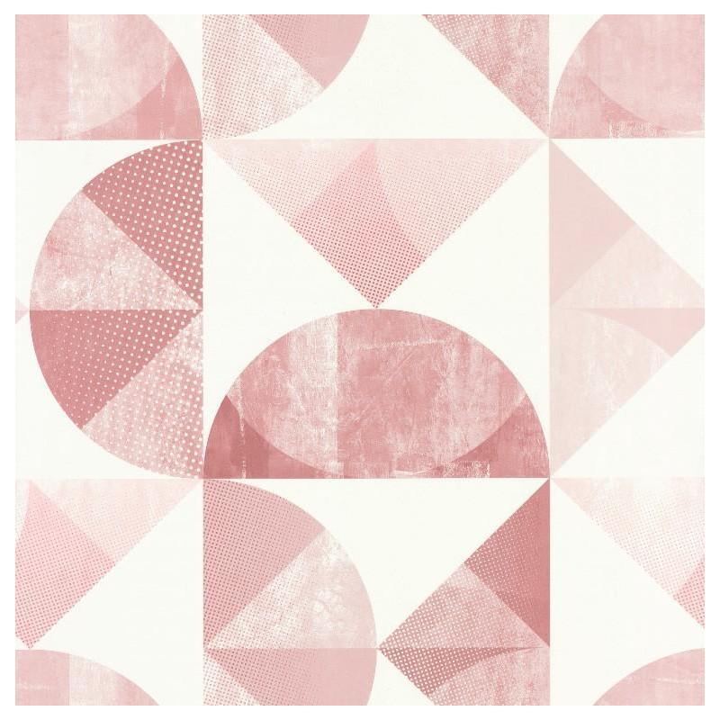 Papier Peint Graphic Motifs Geometriques Rose Spaces Caselio