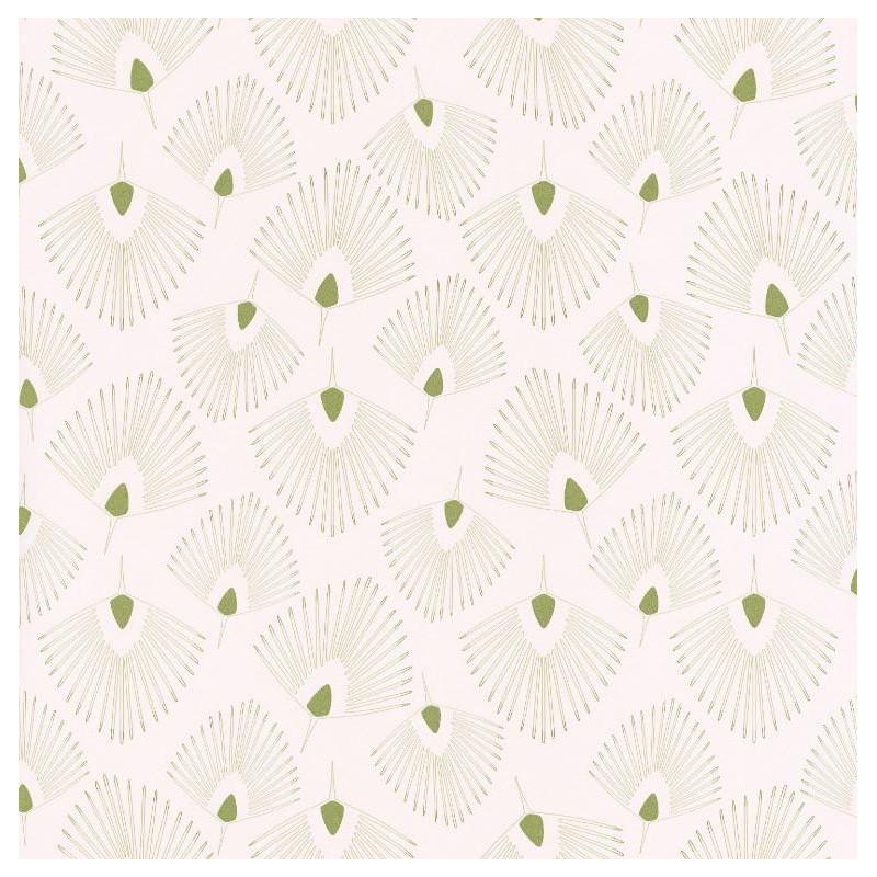 Papier peint Eventails vert clair sur fond beige – JUNGLE - Caselio