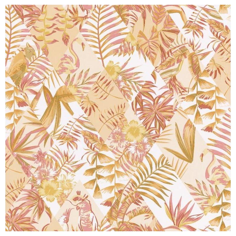 Papier Peint Paradise Motifs Tropicaux Rose Et Vert Jungle Caselio