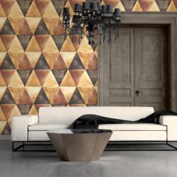 Papier peint vinyle Triangles orange et cuivre effet métallisé - Hexagone - UGEPA
